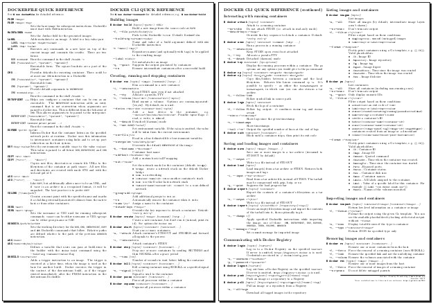 Docker: Printable Quick Reference (Cheat Sheet) [Dmitry Frank]